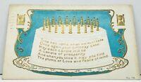 Birthday Cake Poem Golden Candles & Hourglasses Embossed 1913 Postcard I12