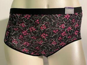 Catherines Intimates Cotton Full Brief Panties Underwear Floral Pink Black 0X