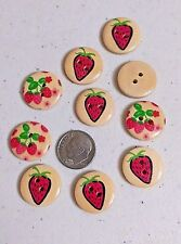 """Lot of 10 STRAWBERRIES 2-hole Wood Buttons 11/16"""" (18mm) Scrapbook Doll (3254)"""