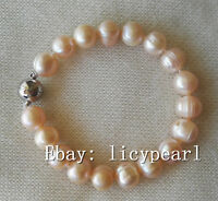 11-12 mm Grau Barock Perle Stretch Armband Große Perle Armband