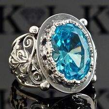 Silver mens ring 925 Sterling Swiss Blue Topaz Unique Handcrafted Mens Jewelry