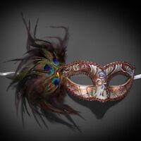 Masquerade Mask Feather Rose Gold Venetian Mardi Gras Masks for Women M1171F
