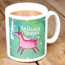 New Katie Abey Believe in Yourself Pink Unicorn Porcelain Gift Mug Cute Cartoon