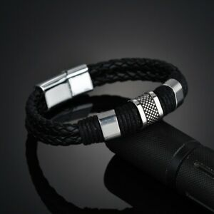 Magnetic Gold Clasp Men's Stainless Steel Leather Bracelet Bangle Cuff Black