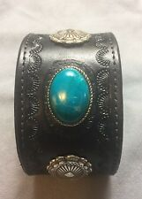 New Handcrafted Leather Faux Turquoise Stone Bracelet