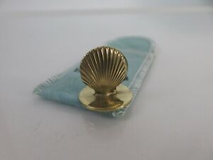 Heavy Tiffany & Co Mid Century Sterling Vermeil Clamshell Place Card Holder