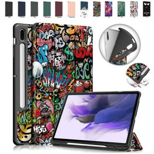 """For Samsung Galaxy Tab S7 FE 2021 T736 12.4"""" TPU Pen Slot Flip Tablet Case Cover"""