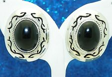 OVAL ONYX SOLITAIRE POST EARRINGS SOLID .925 STERLING SILVER 24.4 g
