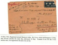 BURMA WWII 1941 HORSESHORE AIR MAIL ROUTE CARRIED BY 'CORIO' COVER TO INDIA 66*