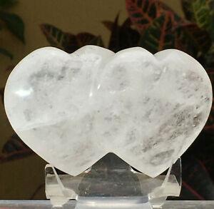 210g Rainbow Double love Heart Natural Clear White Quartz Crystal Charm Specimen