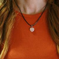 Collar Colgante Mujer Corazón Cuarzo Rosa Piedra Natural 1,5 cm