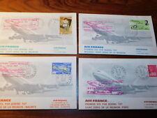 lot 4 PREMIER JOUR vol AIR FRANCE boeing 747 TIMBRE 1975 ILE MAURICE LA REUNION
