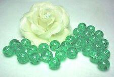 0,10€/Stk 30 Glas-Crash-Perlen Crackle 12mm grün gebrochen Beads Neu
