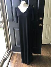 New $119 Chico's Black V-Neck Cold Shoulder Maxi Dress Sz 2 = L Large 12 14 NWT