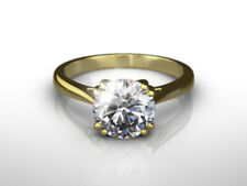 DIAMOND RING ROUND BRILLIANT 18 KARAT YELLOW GOLD AGI CERTIFIED 1 1/2 CARAT