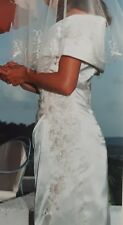 Vintage Chic Klassiker fünfziger Grace Kelly Style Bardot Brautkleid 8 10 Elfenbein