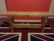 Handmade Chunky Rustic Wooden Bench,Finished in a Rustic Pine Wax