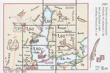 Finland 1985 MNH Sheet - Finlandia 1988 - Postal Map & Ships - Scott 728