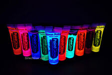 Paint Glow 10ml/.34oz UV Reactive Face and Body Paint- 10 Pack (FREE UV light)