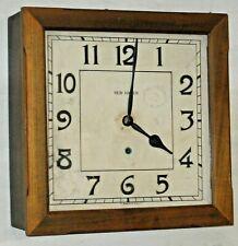 "Antique New Haven U.S.A. ""Balcony"" 8 Day Oak Gallery Wall Clock Working 15"" +Key"