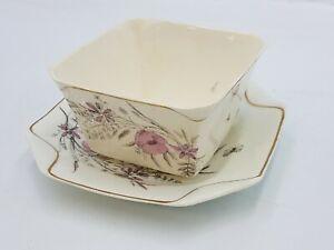 SB & Son Square Bowl Dish w/ Plate 1347 Sampson Bridgwood Anchor Pottery Fine
