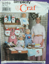 UC Simplicity Craft Christmas Bazaar Items Pattern 9269 Bib Santa Bottle Cover