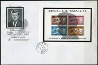 TOGO 1964 JOHN F. KENNEDY MEMORIAL SOUVENIR SHEET  FIRST DAY COVER