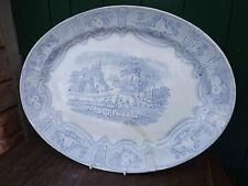 Vintage Blue & White Syria Pattern large Oval Platter Meat Dish