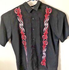 DragonFly Mens Button Up Short Sleeve Xlarge Black with Red Tribal