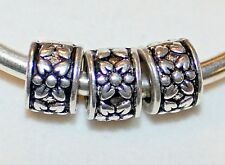 3x FLOWER BAND RINGS SILVER METAL BEADS LOT W715 FITS EURO DIY MURANO CHARM BRC