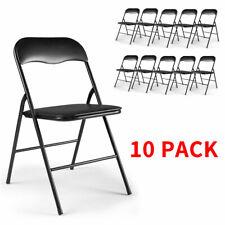 10Pcs Commercial White Plastic Folding Stackable Wedding Party Chair Black