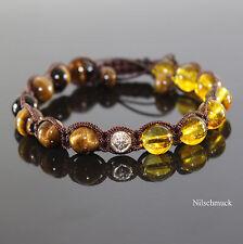 Herren Yellow Crystal Edelstein Styl  Tiger Auge Shamballa Armband für Männer