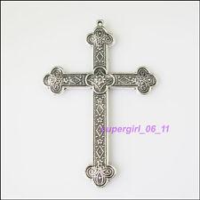1Pc Tibetan Silver Cross Charms Pendants 53.5x80mm