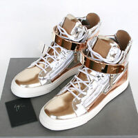 GIUSEPPE ZANOTTI Homme mirror metallic gold London shoes sneakers 40-IT/7-US NEW