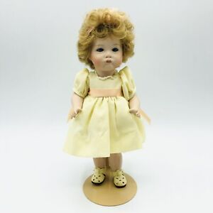 """Vintage Collectible Jointed Bisque Porcelain Doll Curly Hair Stand JO 1984 9"""""""