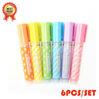 6tlg FLUORESCENT HIGHLIGHTER MARKER PENS Assorted Colours Office School Pack Set