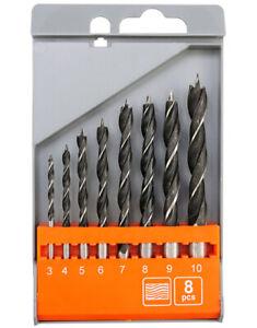 Set de 8 mèches forets à bois pour perceuse 3 - 10 mm kit coffret boite jeu lot