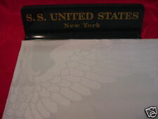 SS UNITED STATES LINES  Irish Linen Insignia Tablecloth  /  New/Old Stock