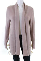 Neiman Marcus Womens Ribbed Knit Open Front Cardigan Sweater Brown Silk Size XL