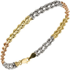Armband 375 Gold Gelbgold Wei�Ÿgold Rotgold tricolor dreifarbig 19 cm Goldarmband