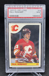 1985 O-Pee-Chee Hockey NHL Paul Reinhart PSA 9 Calgary Flames
