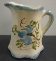 """VINTAGE HAND PAINTED PORCELAIN CREAMER 4"""" TALL"""