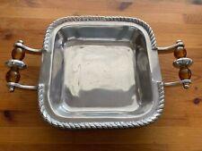Ihi India Handicrafts Aluminum Serving Platter Dish With Beaded Handles 10�