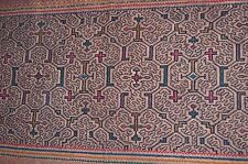 Handmade SHIPIBO Hand Embroidered Tapestry, Shawl Amazonian Indian Tribe, Peru
