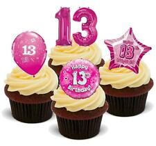 NOVELTY 13TH BIRTHDAY PINK MIX 12 STAND UP Edible Cake Toppers Thirteen Teenager