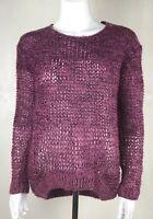 Dorothy Perkins Purple & Pink Crochet Jumper UK Size 8 Oversized Loose Fit Bow