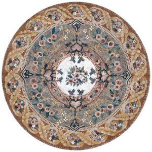 "MD206, 51.18"" Flowers Pattern Round Carpet Mosaic Tile"