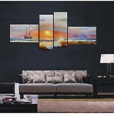 4Pcs Sunrise Sea Ship Picture Paint Canvas Modern Art Painting Wall Home Decor