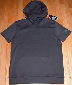 UNDER ARMOUR FITTED SHORT SLEEVE HOODIE BROWN, WHITE UNSTOPPABLE L, XL