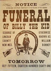 Set of 4  BILLY THE KID FUNERAL NOTICE & WANTED POSTERS  William Bonney 1881
